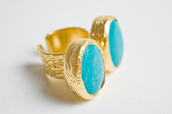 Picture of TWO STONES TURQUOISE RING