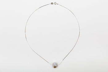 DROP NECKLACE SILVER AND GREY PEARL