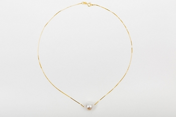 DROP NECKLACE GOLD PLATED SILVER AND WHITE PEARL