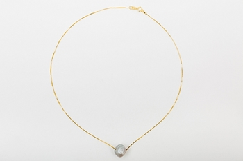 DROP NECKLACE GOLD PLATED SILVER AND GREY PEARL