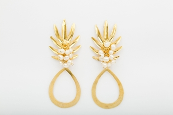 Picture of PINEAPPLE EARRING PEARL
