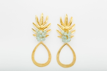 Picture of PINEAPPLE EARRING AQUAMARINE