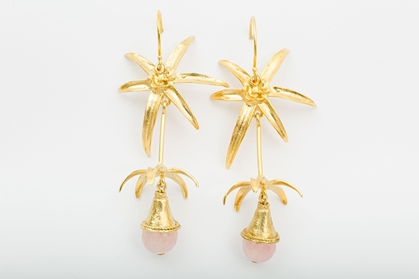 Picture of PALM TREE EARRING PINK