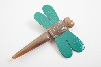 Picture of DRAGONFLY HORN BROOCH GREEN