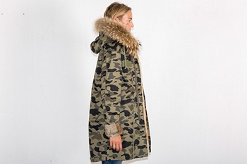 Picture of FUR CAMOUFLAGE LONG PARKA RABBIT/FOX - XS