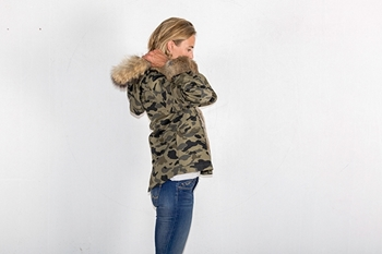 Picture of FUR CAMOUFLAGE SHORT PARKA RABBIT/FOX - S