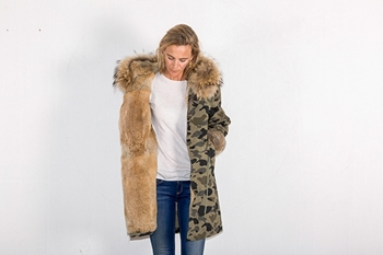 Picture of FUR CAMOUFLAGE LONG PARKA RABBIT/FOX - S