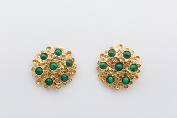Picture of BLOSSOM EARRINGS- MALACHITE