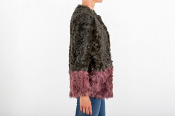 Picture of LAMB COAT GREEN & PINK - SIZE S
