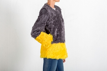 Picture of LAMB COAT GREY&YELLOW - SIZE M
