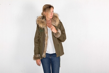 MILITARY SHORT PARKA RABBIT/FOX -XS