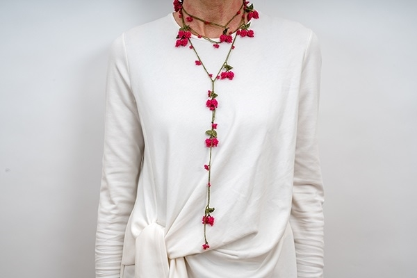 Picture of WRAP CHERRY LONG NECKLACE - FUCHSIA