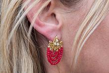 Picture of THREE ROW EARRINGS RED & PEARLS