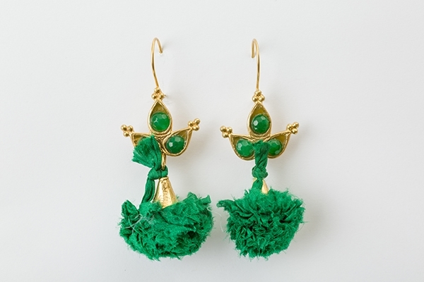 Picture of POMPON EARRING - GREEN