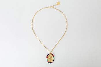 MEDAL NECKLACE - GOLD AND MULTICOLOR
