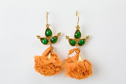 Picture of POMPON EARRING - ORANGE