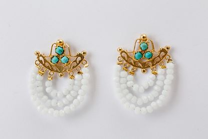 Foto de THREE ROW EARRINGS CRYSTAL & TURQUOISE