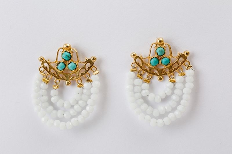 Picture of THREE ROW EARRINGS CRYSTAL & TURQUOISE
