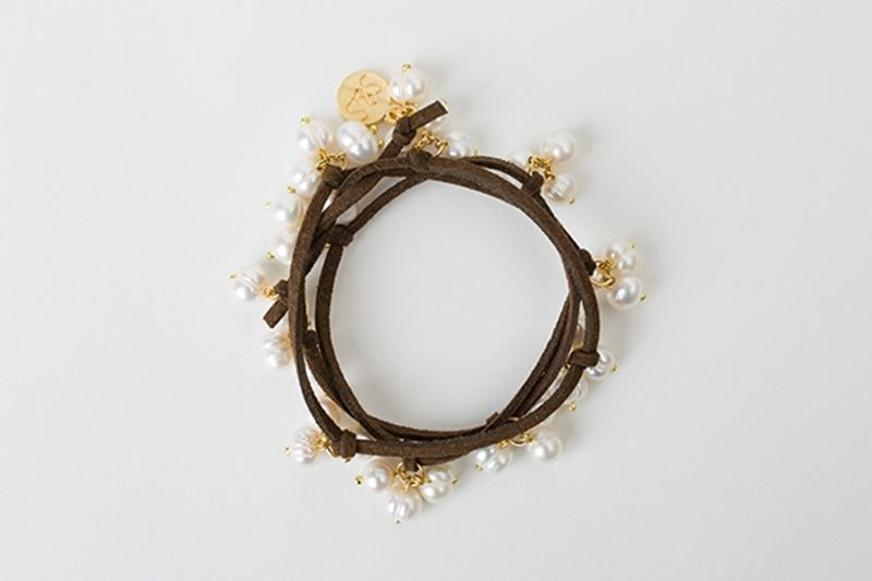Picture of PEARL CHOKER BRACELET - BROWN