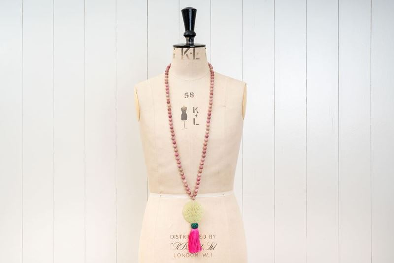 Picture of JADE LONG PENDANT - PINK