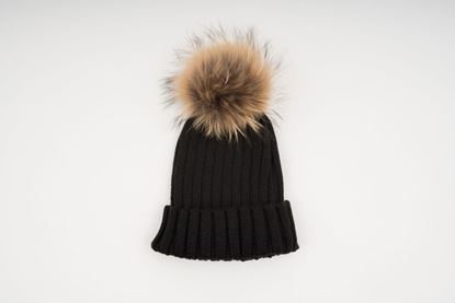 Picture of ADULT POMPON HAT - BLACK