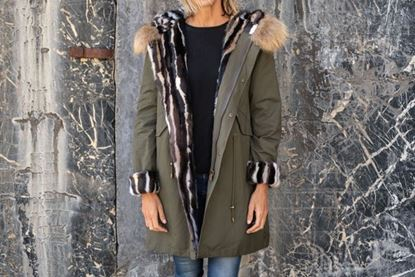 Picture of MINK & FOX LONG PARKA, MILITARY GREEN