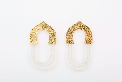 Picture of THREE ROW XL EARRING - WHITE