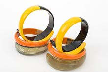 Picture of SNAKE HORN BANGLE - BLACK & YELLOW