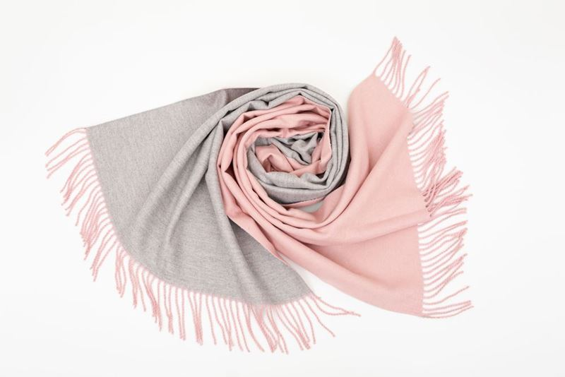 Picture of DOUBLE SIDED CASHMERE SCARF - PINK/GREY