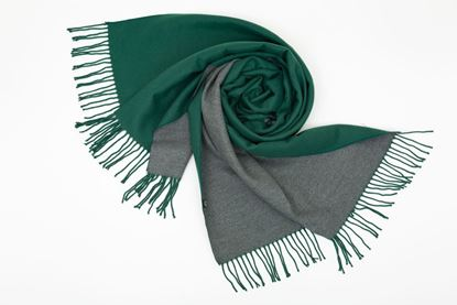 Picture of DOUBLE SIDED CASHMERE SCARF - GREEN/GREY