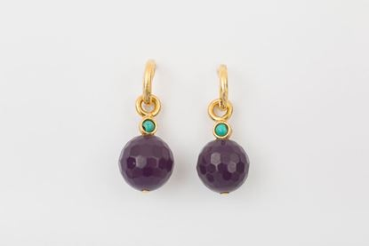 Picture of HOOP EARRING BALL - PURPLE AND TURQUOISE