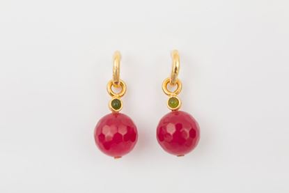 Foto de HOOP EARRING BALL - BURGUNDY AND GREEN
