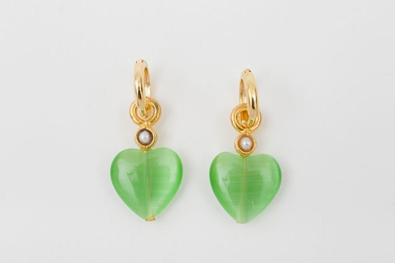 Picture of HOOP EARRING HEART - GREEN AND PEARL