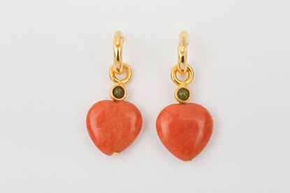 Picture of HOOP EARRING HEART - ORANGE AND TOURMALINE