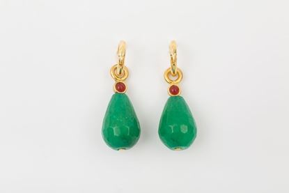 Foto de HOOP EARRING DROP - GREEN AND BURGUNDY