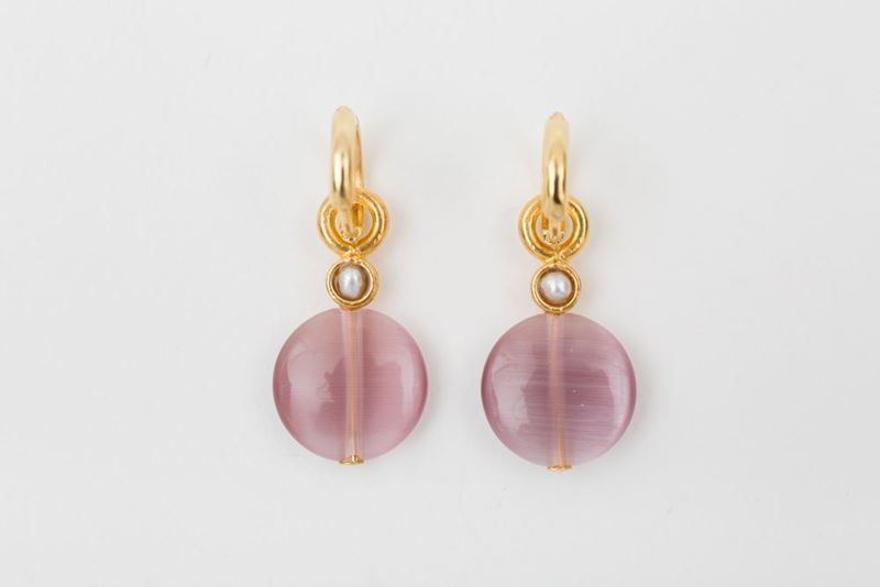 Picture of HOOP EARRING FLAT - PINK AND PEARL