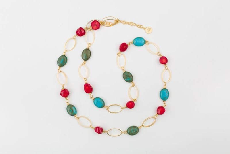 Picture of NEW LONG MIX  NECKLACE- RED CORAL