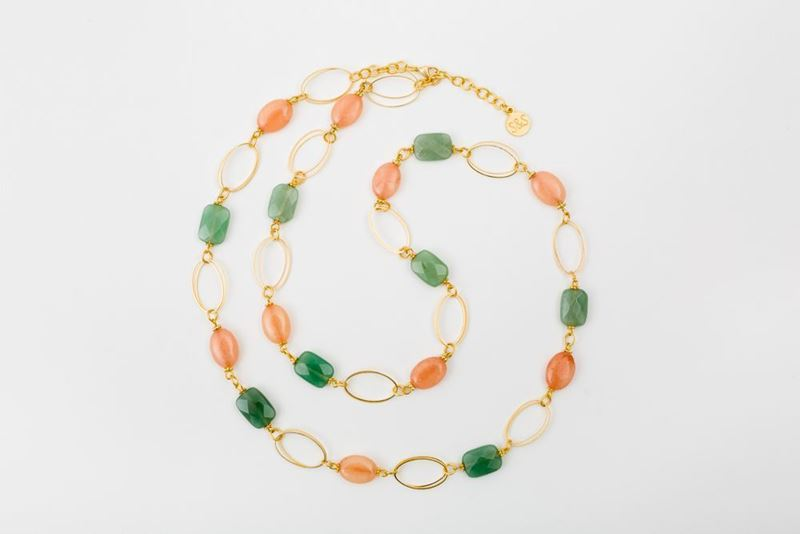 Picture of NEW LONG MIX NECKLACE - JADE & PINK QUARTZ