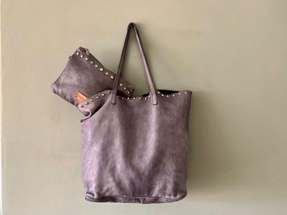 Picture of WASHED SHOPPING LEATHER BAG - GREY