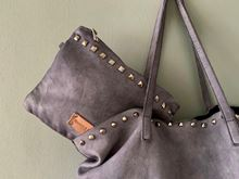 Foto de WASHED SHOPPING LEATHER BAG - GREY