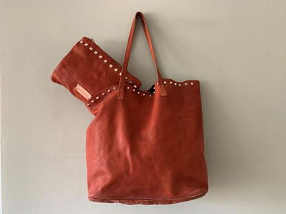 Picture of WASHED SHOPPING LEATHER BAG - BROWN
