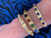 Picture of KATERINA'S BANGLE SET -  THIN PEARL & WIDE BROWN