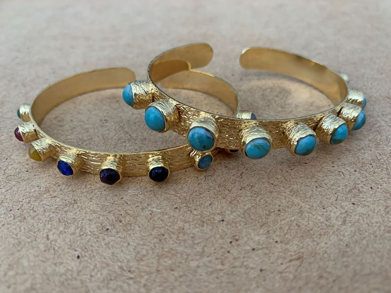 Picture of KATERINA'S BANGLE SET - THIN MULTICOLOR & WIDE TURQUOISE