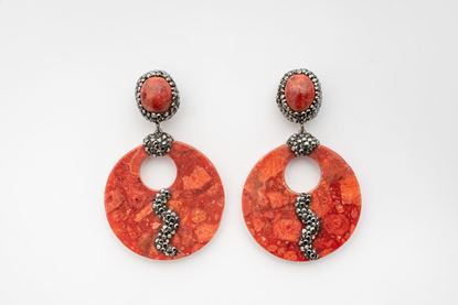 Picture of HEMATITE DISC EARRING - RED