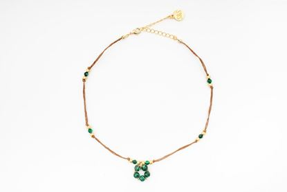 Foto de MINI FLOWER CORD NECKLACE - GREEN