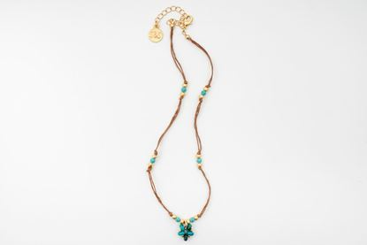Foto de MINI FLOWER CORD NECKLACE - TURQUOISE