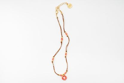 Picture of MINI FLOWER CORD NECKLACE- CORAL