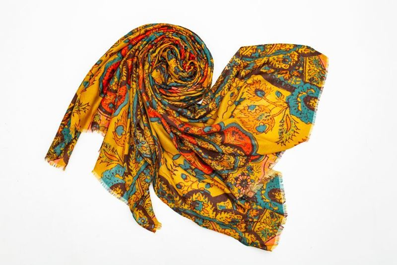 Picture of FLOWER PRINT SCARF -  YELLOW