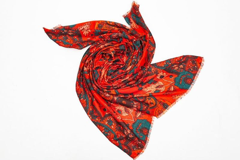 Picture of FLOWER PRINT SCARF -  RED
