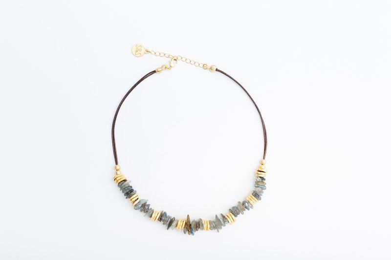 Picture of PIETRA LEATHER NECKLACE - GREY